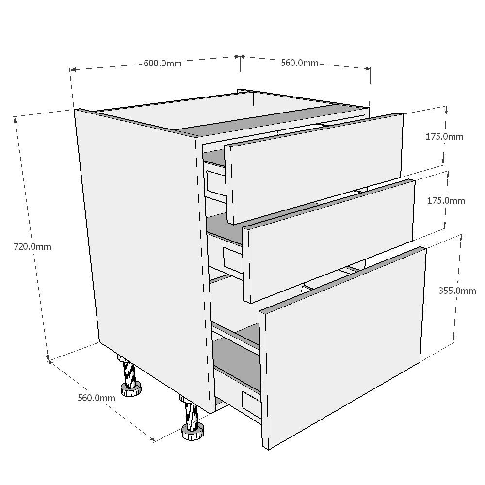 Kitchen Base Cabinet Dimensions: 600mm Pan Drawer Kitchen Base Unit