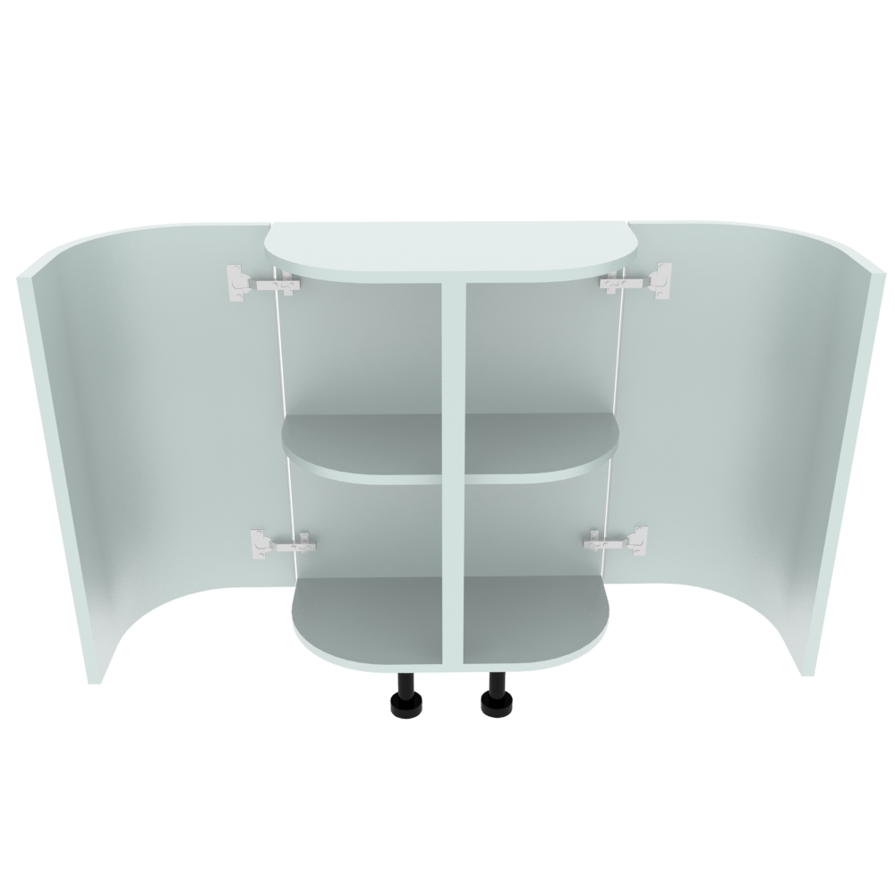 Double Curved Base Peninsular End Unit - 300 x 600mm - (R=188mm)