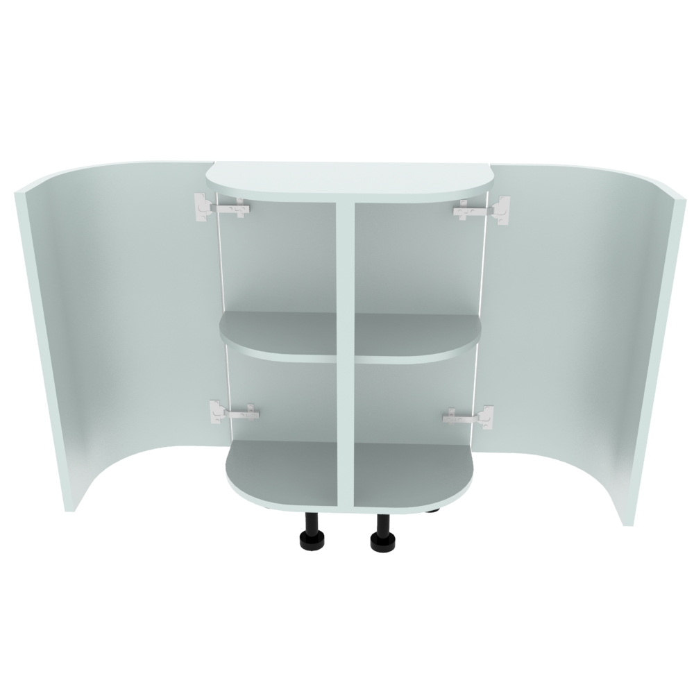 Double Curved Base Peninsular End Unit - 300 x 600mm - (R=190.5mm)