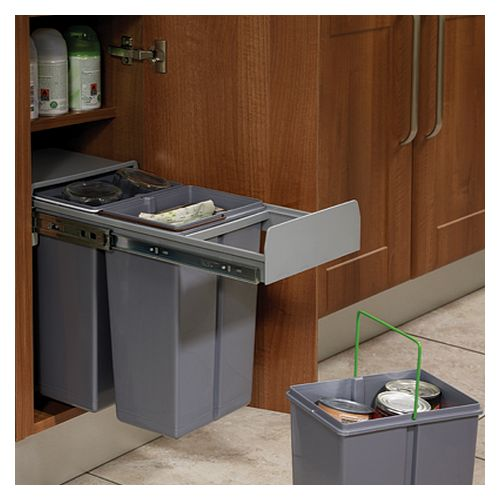 Base Mounted Pull-Out Bin, Segregated 30 Litre (To Suit 300mm Wide Unit)